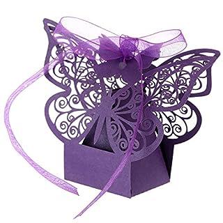 Anself 20St Laserschnitt Schmetterling Hochzeit Geschenkbox DIY Bonbon-Box mit Farbband