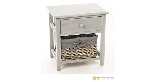 Table de chevet en bois gris avec tiroir et panier: amazon.fr