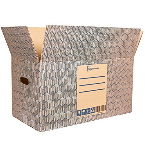 10 Unidades Grandes - Cajas de Carton Grandes para Mudanza y Almacenaje (60x30x27,5cm) con Asas – Fabricado por Packerfy