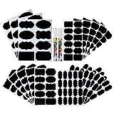 Pllieay Kreidetafel-Etiketten, wasserdicht, wiederverwendbar, abwischbar, Aufkleber, mit 2 Kreidestiften, zum Dekorieren von Gläsern, Vorratskammer, Zuhause und Büro, 214 Stück, 4 Größen