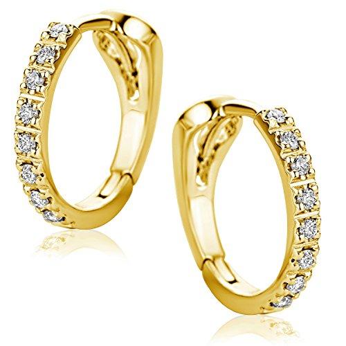 Produktbild bei Amazon - Orovi Damen Diamant Gold Creolen Ohrringe Gelbgold 18 Karat (750) Ohr-Schmuck Brillianten 0.10ct