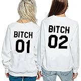 Ziwater Best Friends Pullover Passende Shirt Für 2 Damen mit Aufdruck Bitch Sisters (01-L+02-M, Weiß)