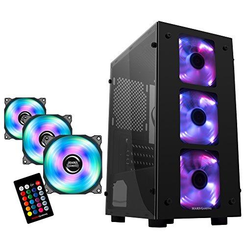 MARSGAMING Mars Gaming - Pack Caja Micro ATX y Kit de 3 Ventiladores RGB (minitorre Micro ATX, 3 Ventiladores Frontales RGB, Panel Lateral acrílico, Kit 3 Ventiladores Extra RGB, Mando a Distancia)
