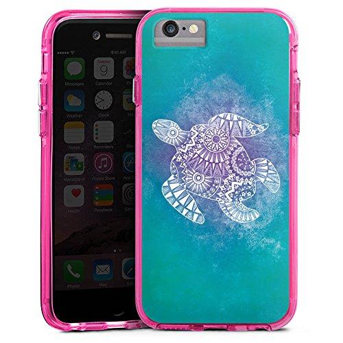 Apple iPhone 7 Bumper Hülle Bumper Case Glitzer Hülle Mandala Turtle Pattern Muster Bumper Case transparent pink