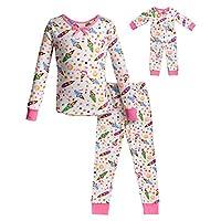 طقم ملابس نوم مناسب للفتيات من دوللي آند مي زي دمية مطابق Ivory/Pink 10