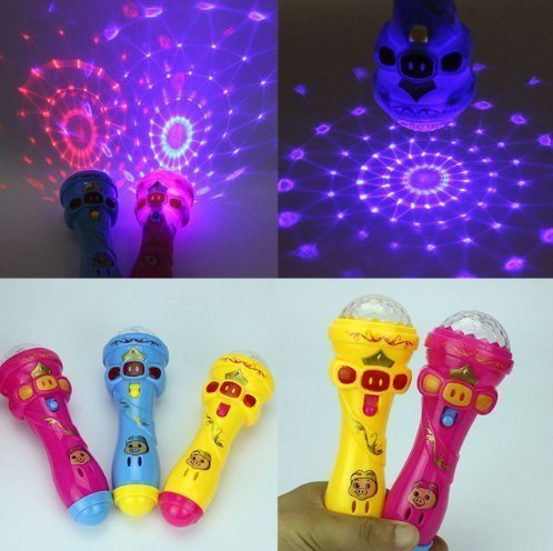 Uchic 3pcs microphonekids toy cute pig led light up lampeggiante colorato giocattolo bambini flash stick microfono starry torcia giocattoli colore casuale