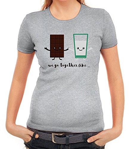 Valentinstag Damen T-Shirt mit Chocolate + Milk Motiv von ShirtStreet Graumeliert