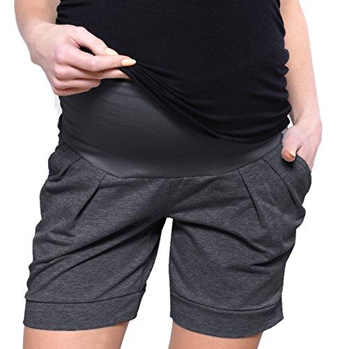 Cargo-jersey-shorts (Mija Kurze Umstandsshorts / Umstandshose mit Bauchband für Sommer 1047 (EU42 / XL, Graphite))