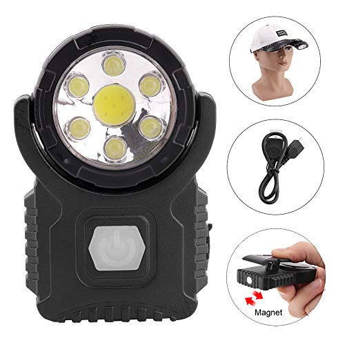 BESTSUN Cap Light USB wiederaufladbar, Clip on LED Lights für Baseball Cap, Ultra Bright 7 LED/Magnet/Drehbar / 3 Modi - Led Cap Light