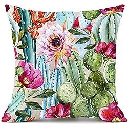 "Moyun ""Tropical Rainforest - Funda de cojín (45 x 45 cm), diseño de Rayas, algodón, Lino, Cactus B, 45x45 cm"