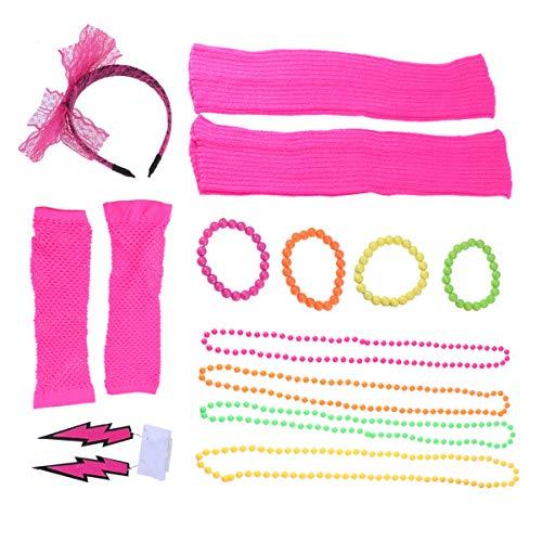 (Toyvian 1980er Jahre Womens Fancy Outfit Party Kostüm Zubehör Set für Mädchen Frauen Night Out Party (Rosy))