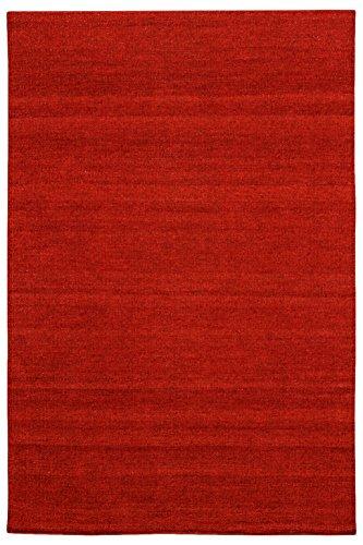 Morgenland Kelim Teppich FANCY 300 x 200 cm Rot Einfarbig Uni Kurzflor Handgewebt 100% Schurwolle...