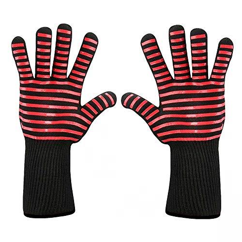 Setsail Grillofen Hoch temperatur Handschuhe Isolierung Anti-Verbrühung Mikrowelle BBQ Handschuhe Lange Ofenhandschuhe hitzebeständig bis - perfekt am Grill & Ofen Profi Grillhandschuhe (A)