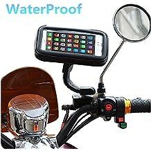- Soporte universal para motocicleta, ajuste a espejo retrovisor, apto para iPhone 6S/6/5S/4S/iPod/GPS/MP4/Samsung S7/S6/Edge, etc.