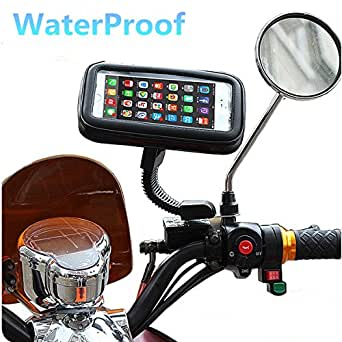 WaterProof Motorcycle Phone Mount, 360º Rotatable Adjustable Motorcycle Phone Cover with Poncho Gps ATV Scooter Holder Moped Rearview Mirror Stand for iPhone 7 / 7 Plus / 6s / Google Pixel XL/Moto Z