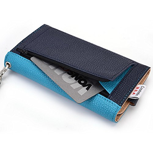 Kroo Housse de transport Dragonne Étui portefeuille pour Samsung Galaxy S III mini/Ace 4/S4 Zoom Mint Blue and White bleu
