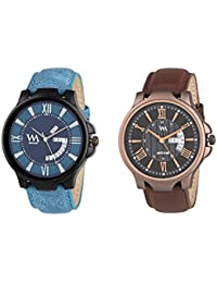 Watch Me Day And Date Analog Watches Gift Combo Set Of 2 Watches For Men And Boys DDWM-023-024bys