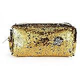 Mentin Réversible Sequins Femme Paillettes Cosmétique Sac Boîte à Crayons Porte-Monnaie Mallette de Maquillage Cadeau, doré, 21.5x8x10.5cm/8.46x3.15x4.13 (Or)