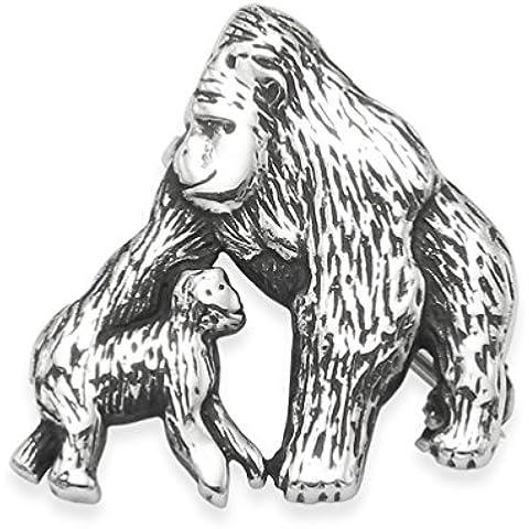 Confezione regalo-Spilla in argento Sterling a forma di Gorilla &-Mother baby-Silverback Gorilla, in argento puro, con finitura anticata, misura: 20 mm x 22 mm,