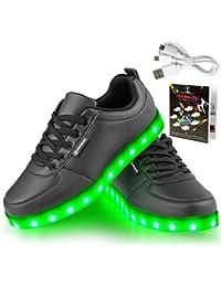 LED Schuhe,Shinmax 7 Farbe USB Aufladen LED Leuchtend Sport Schuhe Sportschuhe LED Sneaker Turnschuhe für Unisex-Erwachsene Herren Damen mit CE-Zertifikat
