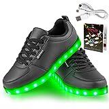 LED Schuhe,Shinmax 7 Farbe USB Aufladen LED Leuchtend Sport Schuhe Sportschuhe LED Sneaker Turnschuhe für Unisex-Erwachsene Herren Damen mit CE-Zertifikat(Black,39)