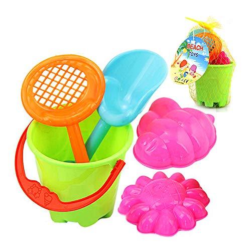 Spaß-Strand-Sand-Spielzeug-Set Reusable Plastic Toy Sand Mold mit Biene und Sonnenblume Sand Mold, Eimer, Schaufel, Sieb für Kid 5Pcs