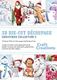 Craft Creations PK765 Christmas Collection 2 - Fustelle per decoupage 3D; fogli A4, 10 modelli: pupazzi di neve, orsetti, omini di pan di zenzero e altri