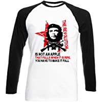 Teesquare1st Men's CHE GUEVARA AN APPLE QUOTE Maniche Lunghe Nere