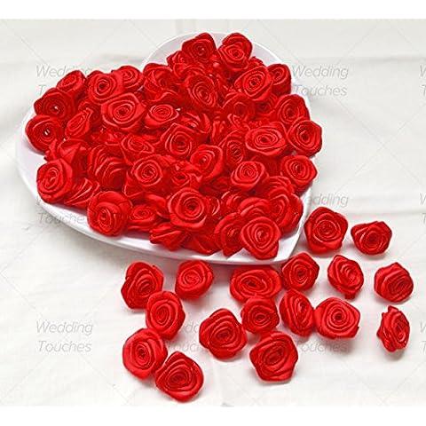 Rosso 25mm nastro di raso rosa fiori decorativo Craft Rosso