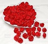Rote Rosen 25 mm groß aus Satinschleifenband, dekorative Bastelrosen rot