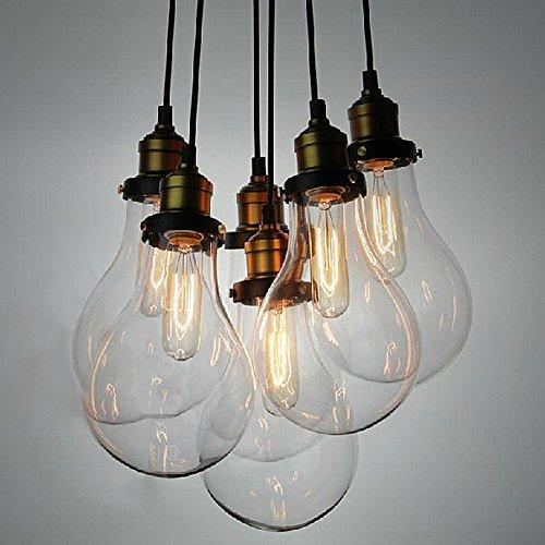 NIUYAO Lampe Suspension Lustre Métal&Verre Loft Style Ampoule Industriel Chandelier Hanging Light Réglable 6 Lampe
