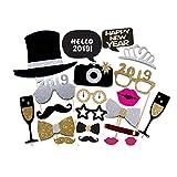 Jannyshop Photo Booth Props de La Fiesta De Nochevieja 2019 Accesorios de Adornos para Artículos Navideños Decoraciones de Disfraces para Fiestas (21 Piezas)