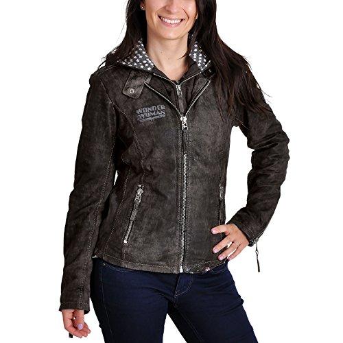Wonder chaqueta de la mujer Damen Leder con capucha y logo de DC Comics de cuero gris - M
