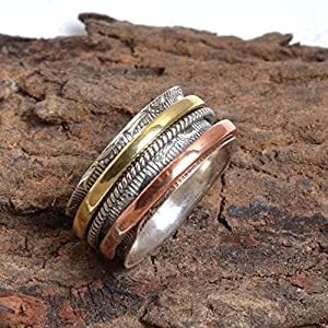 Meditationsringe, Spinnerringe, Silberringe für Frauen, Spinning Ring for Women, 925 Sterling Silver Band, Brass and Copper Spinner Ring for Women, Anxiety Ring for Meditaion, Thumb Rings