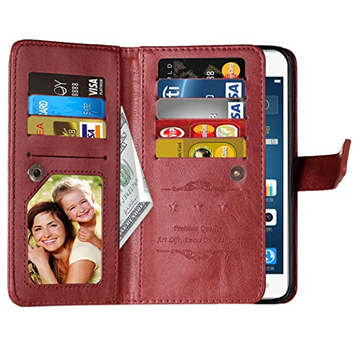 Flip Huawei P9 plus Argument Folio Case Solid Farbe Premium Synthetik-Leder-Kasten-Standplatz-Mappen-Kasten-Kasten mit 9 Karten-Bargeld-Slots für Huawei P9 plus ( Color : Brown , Size : Huawei P9 Plus Brown