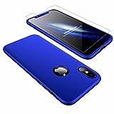 AILZH kompatibel für HandyHülle iPhone XS Hülle,iPhone X Hülle 360 Grad Schutzhülle PC Hartschale Anti-Schock Anti-Kratz Stoßfänger Cover Case Matte Schutzkasten+Gehärteter Glasfilm(Blau)