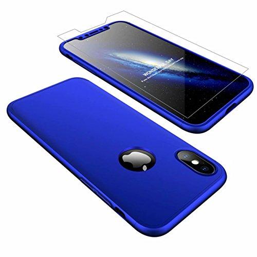AILZH iPhone XS Hülle,iPhone X Hülle 360 Grad Schutzhülle PC Hartschale Anti-Schock HandyHülle Anti-Kratz Stoßfänger 360°Cover Case Matte Schutzkasten+Gehärteter Glasfilm(Blau)