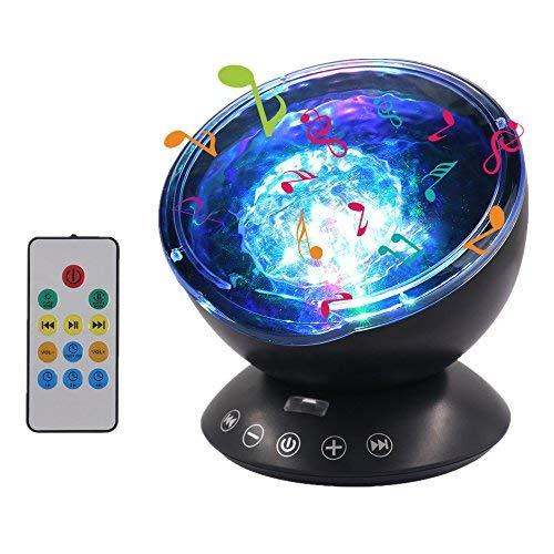 Songsun Stimmungslicht mit Fernbedienung Ozeanwellen Projektor 12LED und 7 Farben Nachtlicht mit integriertem Mini-Musik-Player für Wohn- und Schlafzimmer (12 LED Schwarz) (H1 Led-projektor-lampe)
