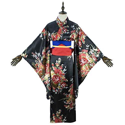 Französisch Kostüm Weiblich - GGOODD Hell Girl Enma Ai Weibliche Neue Hochwertige Japanische Druck Kirschblüte Kimono Anzug Damen Kostüm,Schwarz,XL