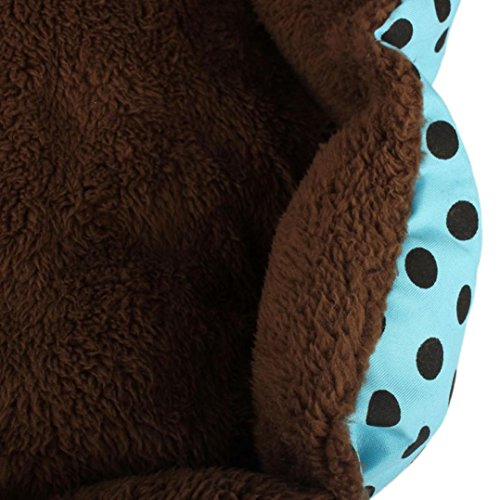 Sannysis Weiches Fleece Hund Welpen Katze-Bett-Haus-Plüsch Cozy Nest-Matten-Auflage-blau - 5