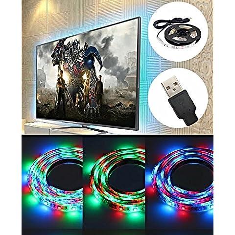 USB LED striscia multicolore RGB per TV PC LCD a schermo piatto Cabinet e contatore con mini controller. 50cm impermeabile e uso flessibile per creare un' alternativa sorgente di illuminazione in ogni stanza. Ottima idea regalo.