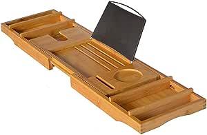 Porta Cellulare WC a Scomparsa Beige Multifunzione Scaffale per Vasca da Bagno in bamb/ù Porta Cellulare