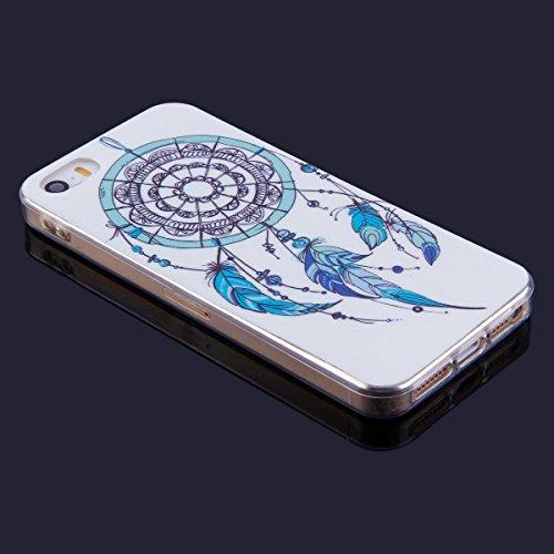 iPhone 5 Custodia Cover Transparente, JAWSEU Apple iPhone 5S Corpeture Chiaro Case Disegni Creativo Bella Vintage Elegante Super Sottile Bumper Case Custodia Cover per iPhone SE Protettiva Shock-Absor Campanula