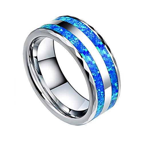 HFJ&YIE&H 8mm Herren Wolframcarbid Hochzeitsring Blauer Opal Facettierte Kante Hochglanzpoliert Silber Verlobungsband Größe 5-15,7 (5 Ring Größe Opal)