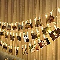 30 LEDs Foto Clips Lichterketten Warmweiß - 3M Fotolichterkette Mit Batteriebetriebene Wanddekoration für Foto Memos Kunstwerke Weihnachten Geburtstag Valentinstag Hochzeit Party Romantische Deko
