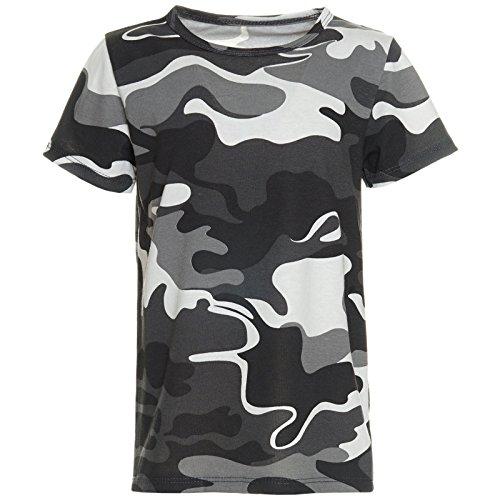 Camo Kinder-camouflage-t-shirt (Jungen Kinder Camouflage T-Shirt Sommer Bluse Kurzarm Shirts Short Sleeve 21271 Schwarz Größe 128)