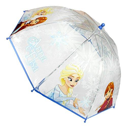 Le Monde du Parapluie - Anna & Elsa - La Reine des Neiges - Parapluie Canne Cloche, 45 cm, Transparent/Bleu