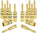 Poppstar 12x High End Bananenstecker, Bananas für Lautsprecherkabel (bis 4 mm²), Lautsprecher, AV Receiver, 24k vergoldet (6X schwarz, 6X rot)