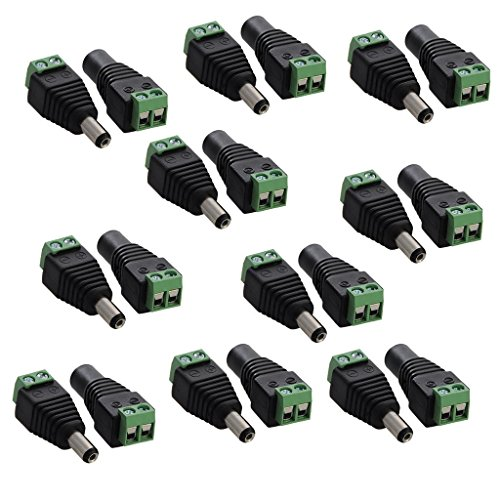 Amazon.co.uk - 10 pairs 5.5mm x 2.1mm 12V DC Power Male & Female Jack Connector Plug Adapter