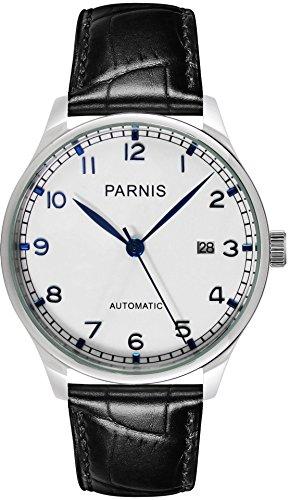 parnis 9023–reloj automático de hombre elegante 5bar resistente al agua 43mm–reloj de pulsera de piel seagull marca reloj de calibre st25